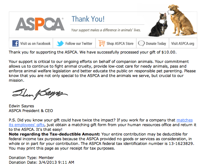 ASPCA donation